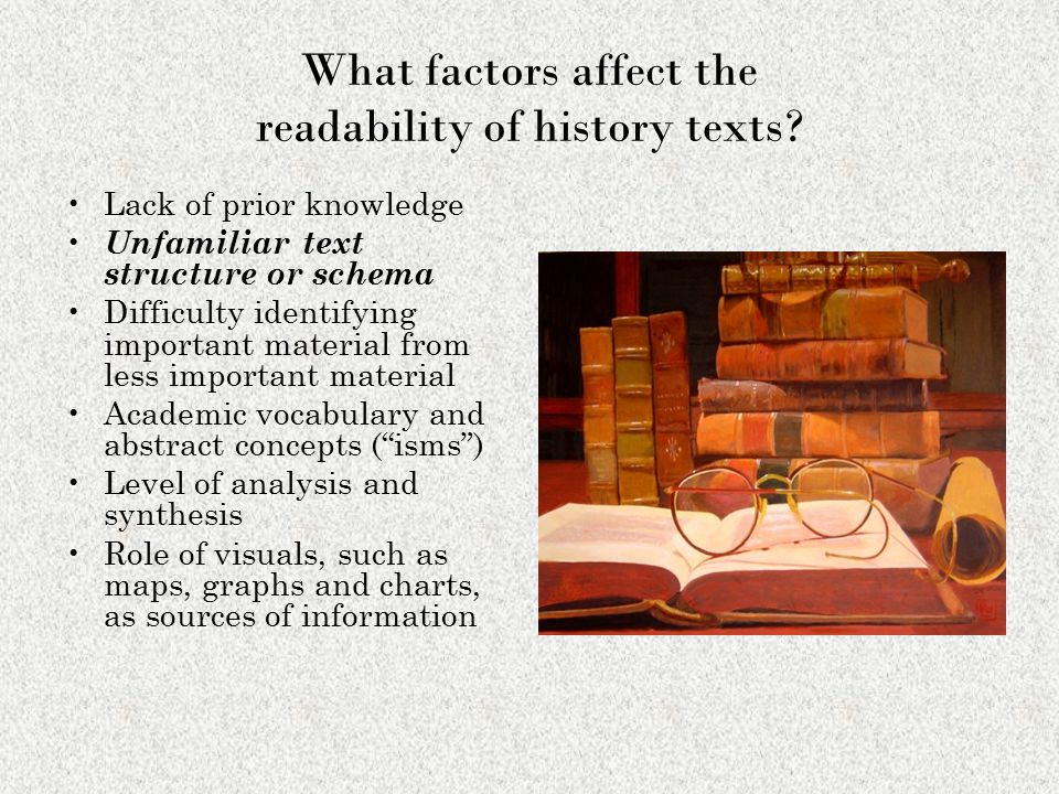 What factors affect the readability of history texts? Lack of prior knowledge Unfamiliar text structure or schema Difficulty identifying important mat
