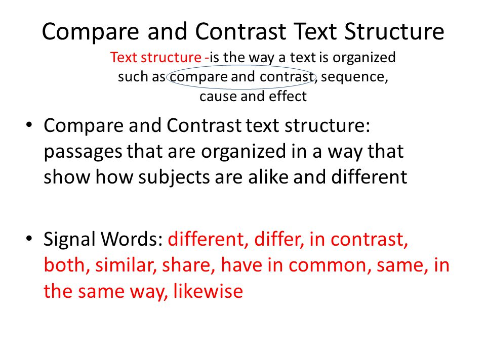 Compare and Contrast Text Structure Compare and Contrast text structure: passages that are organized in a way that show how subjects are alike and different Signal Words: different, differ, in contrast, both, similar, share, have in common, same, in the same way, likewise Text structure -is the way a text is organized such as compare and contrast, sequence, cause and effect