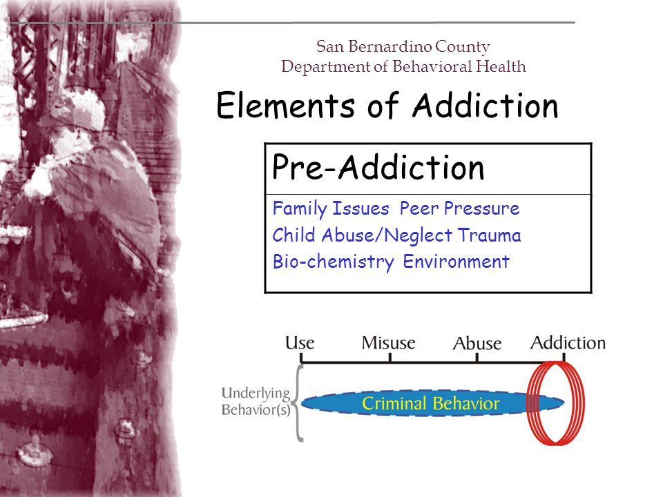 Elements of Addiction San Bernardino County Department of Behavioral Health Pre-Addiction Family Issues Peer Pressure Child Abuse/Neglect Trauma Bio-c