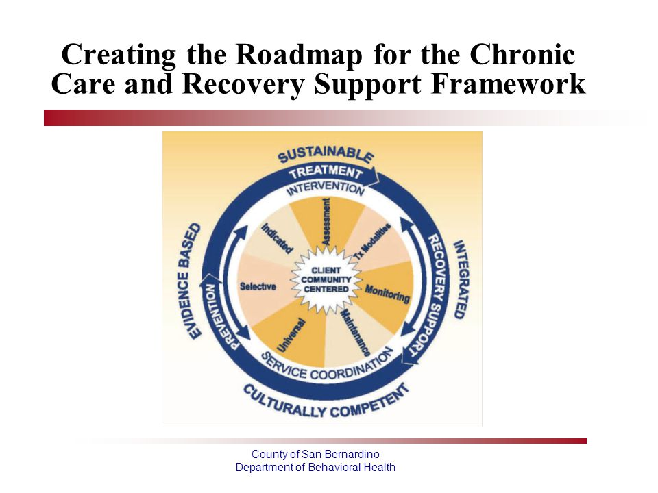 County of San Bernardino Department of Behavioral Health Creating the Roadmap for the Chronic Care and Recovery Support Framework