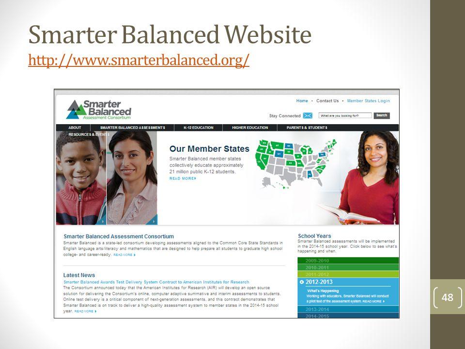 Smarter Balanced Website http://www.smarterbalanced.org/ http://www.smarterbalanced.org/ 48