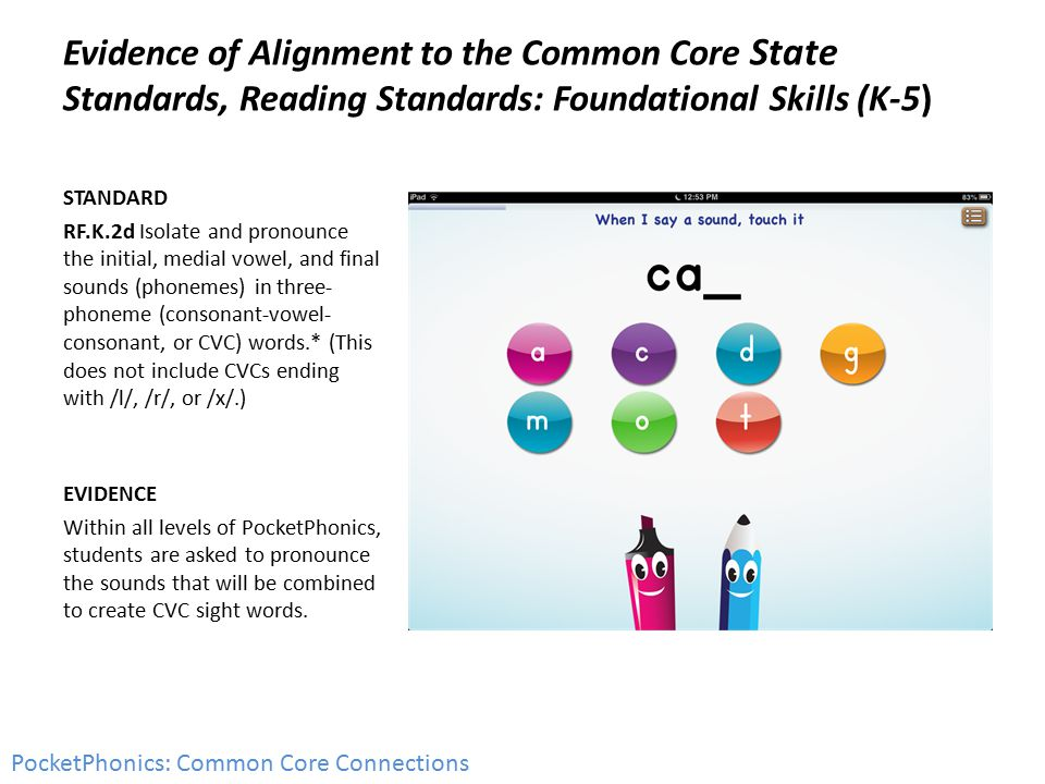 Evidence of Alignment to the Common Core State Standards, Reading Standards: Foundational Skills (K-5) STANDARD RF.K.2d Isolate and pronounce the init