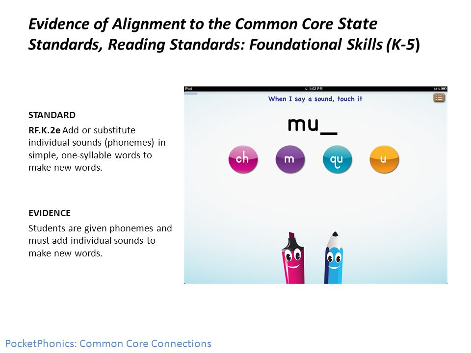 Evidence of Alignment to the Common Core State Standards, Reading Standards: Foundational Skills (K-5) STANDARD RF.K.2e Add or substitute individual sounds (phonemes) in simple, one-syllable words to make new words.