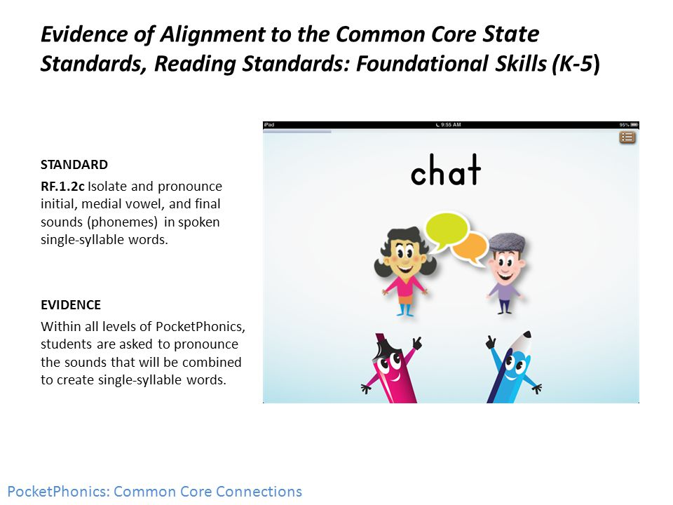 Evidence of Alignment to the Common Core State Standards, Reading Standards: Foundational Skills (K-5) STANDARD RF.1.2c Isolate and pronounce initial, medial vowel, and final sounds (phonemes) in spoken single-syllable words.