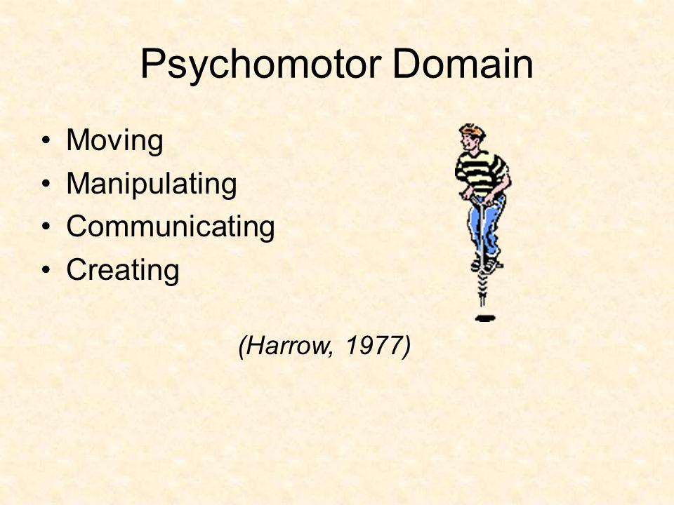 Psychomotor Domain Moving Manipulating Communicating Creating (Harrow, 1977)