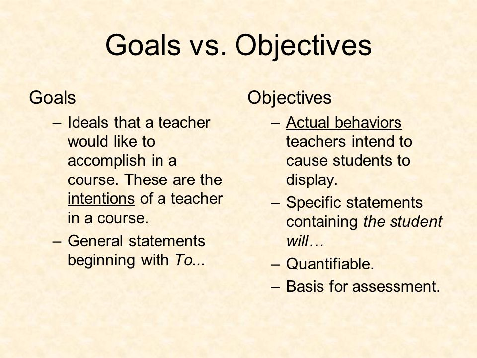 Process in School Districts 1.Educational goals are established as learning targets (competencies that students are expected to achieve).