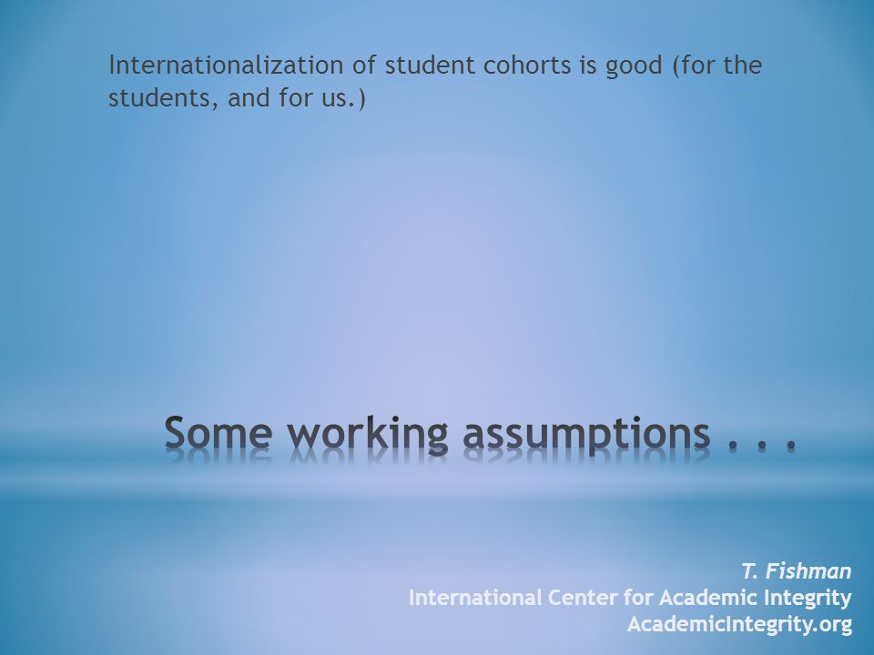 Internationalization of student cohorts is good (for the students, and for us.) T.