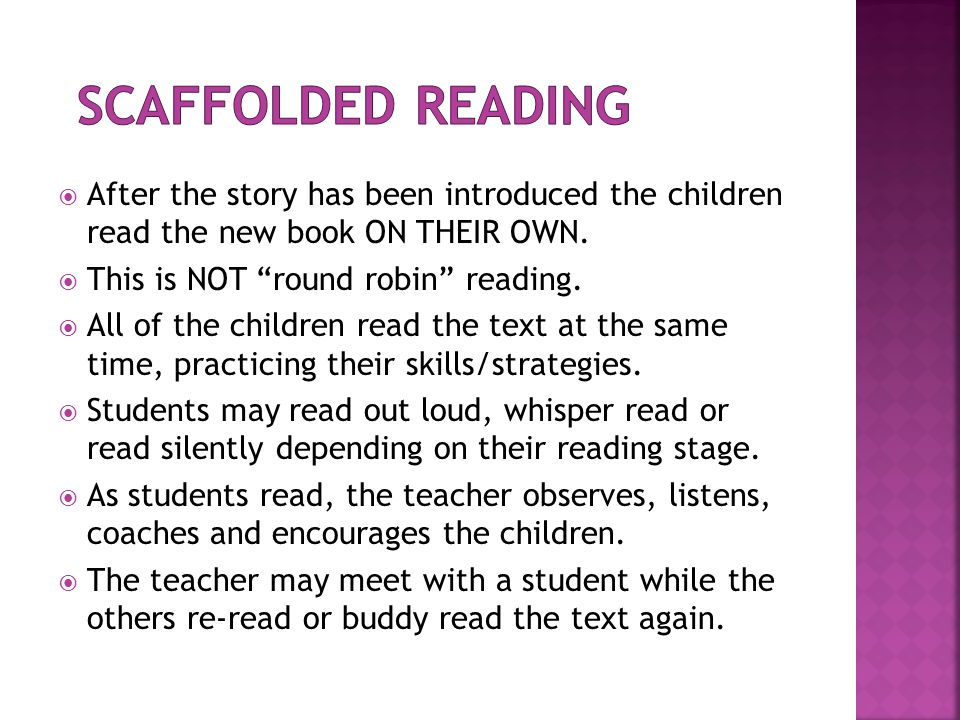 After students have had an opportunity to read and re- read the new text, there should be time remaining in the lesson to discuss the content of the book.