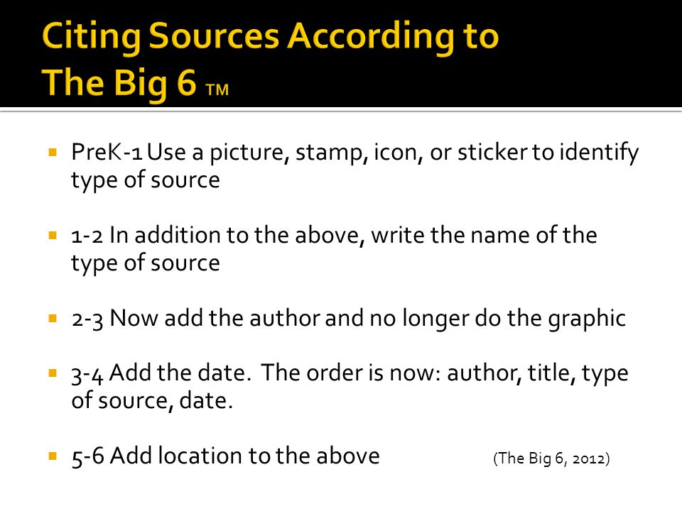  PreK-1 Use a picture, stamp, icon, or sticker to identify type of source  1-2 In addition to the above, write the name of the type of source  2-3 Now add the author and no longer do the graphic  3-4 Add the date.
