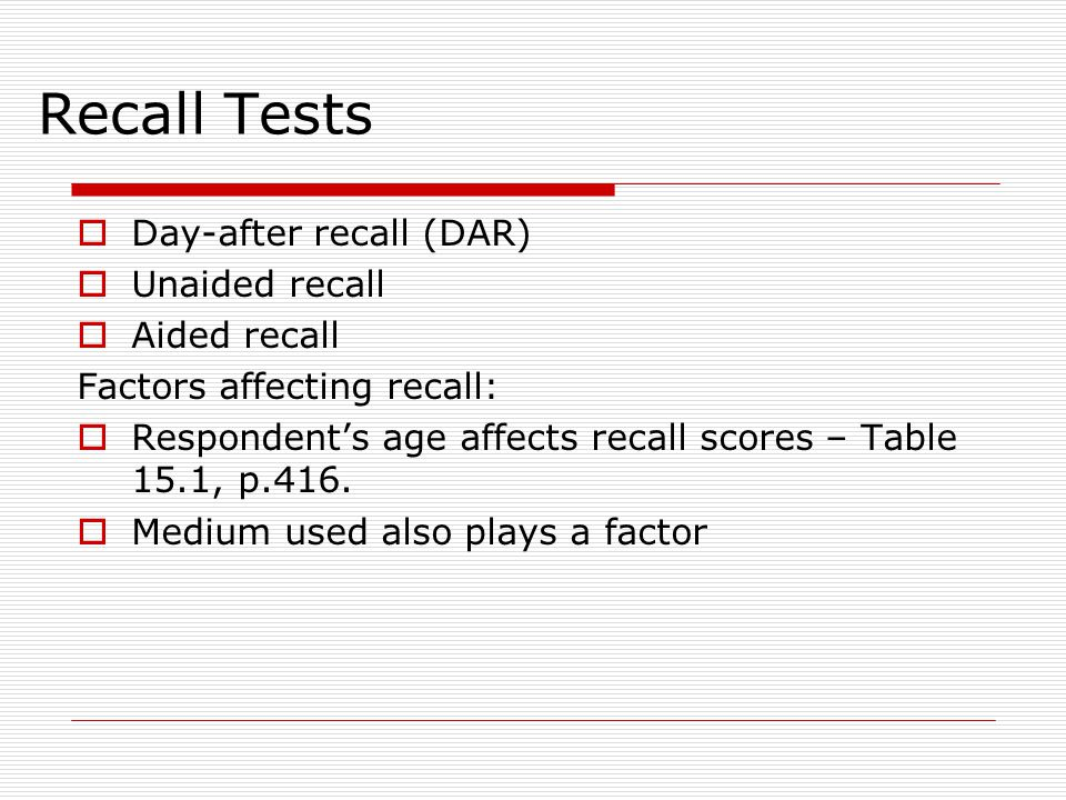 Recall Tests  Day-after recall (DAR)  Unaided recall  Aided recall Factors affecting recall:  Respondent's age affects recall scores – Table 15.1, p.416.
