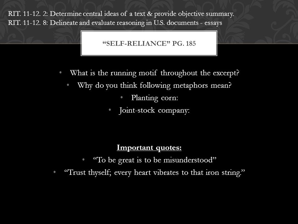 """What is the running motif throughout the excerpt? Why do you think following metaphors mean? Planting corn: Joint-stock company: Important quotes: """"To"""