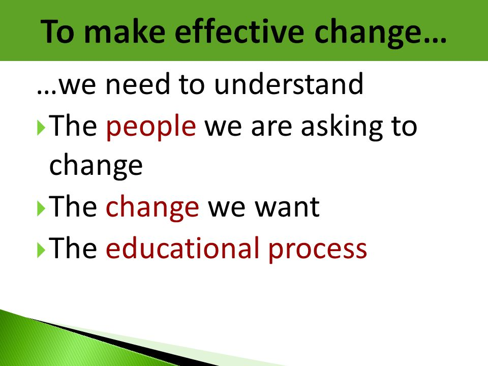 …we need to understand  The people we are asking to change  The change we want  The educational process