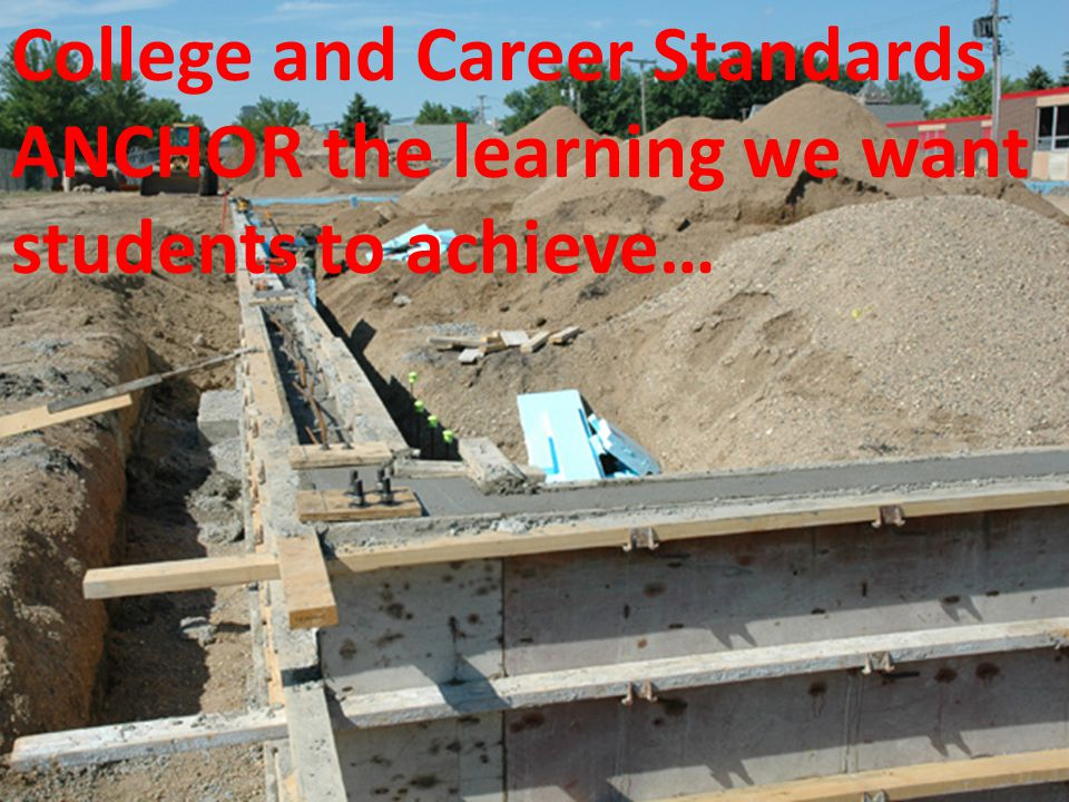 College and Career Standards ANCHOR the learning we want students to achieve…