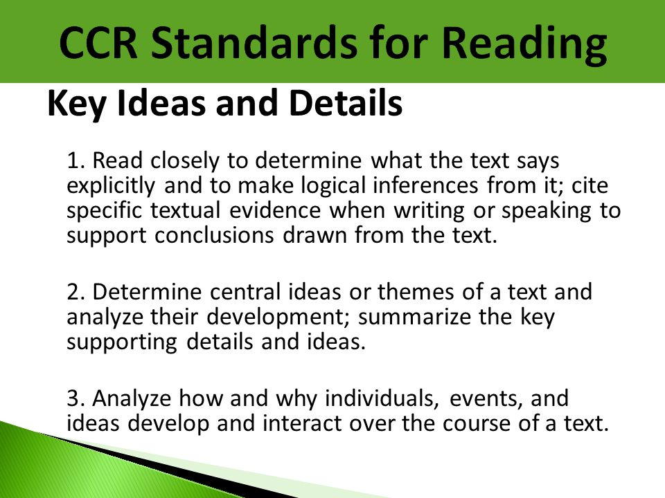 Key Ideas and Details 1. Read closely to determine what the text says explicitly and to make logical inferences from it; cite specific textual evidenc