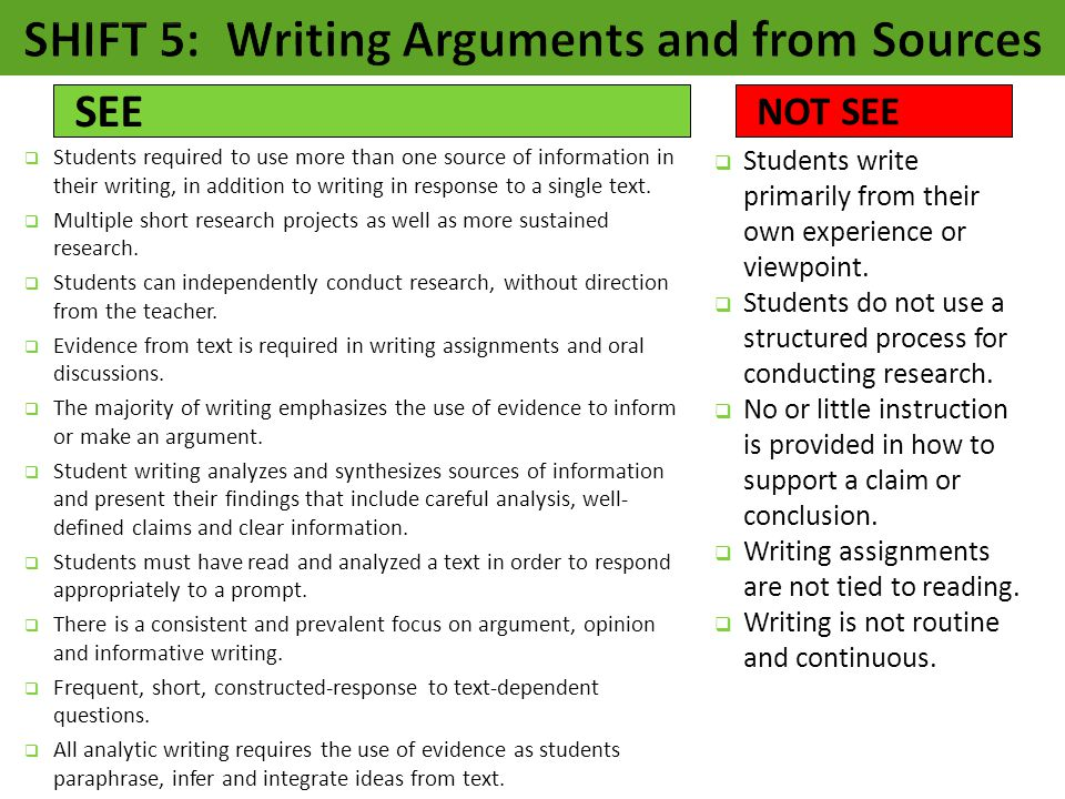  Students required to use more than one source of information in their writing, in addition to writing in response to a single text.  Multiple short