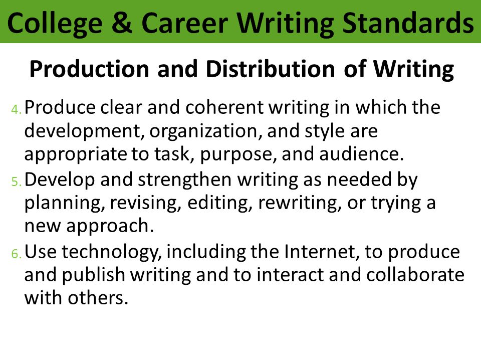 Production and Distribution of Writing 4. Produce clear and coherent writing in which the development, organization, and style are appropriate to task