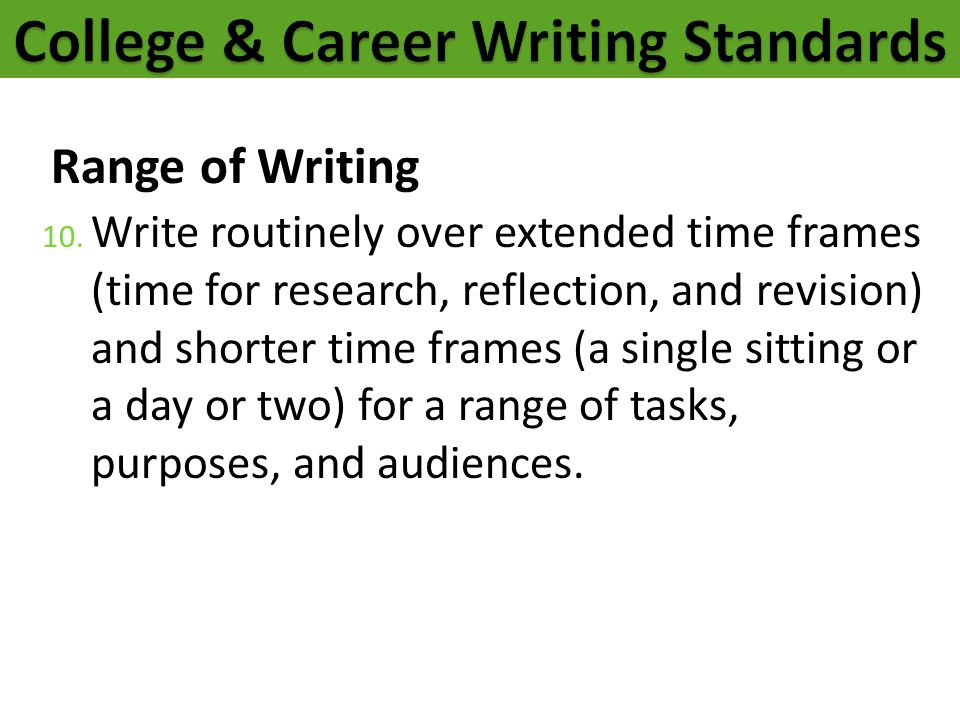 Range of Writing 10. Write routinely over extended time frames (time for research, reflection, and revision) and shorter time frames (a single sitting