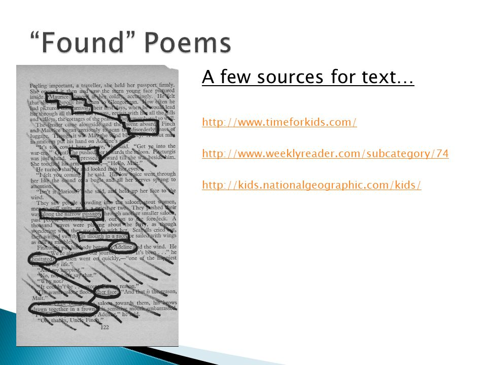 A few sources for text… http://www.timeforkids.com/ http://www.weeklyreader.com/subcategory/74 http://kids.nationalgeographic.com/kids/