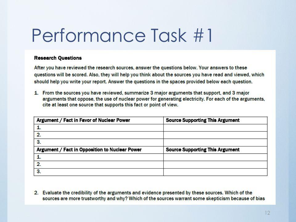 Performance Task #1 12