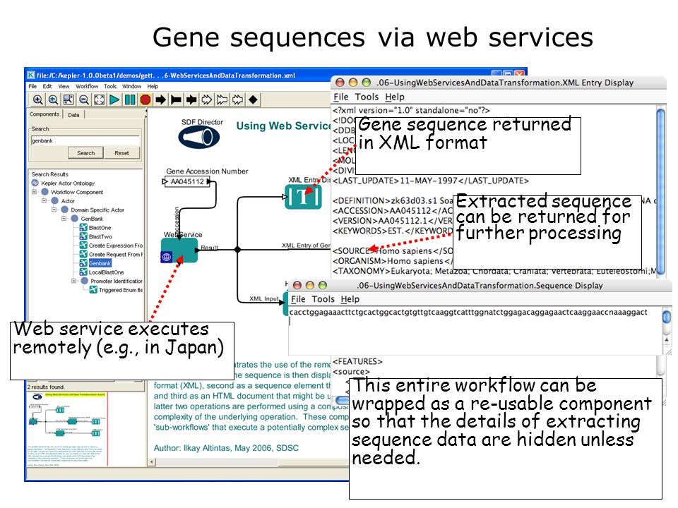 Gene sequences via web services Gene sequence returned in XML format Web service executes remotely (e.g., in Japan) This entire workflow can be wrapped as a re-usable component so that the details of extracting sequence data are hidden unless needed.