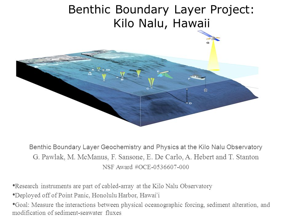 Benthic Boundary Layer Project: Kilo Nalu, Hawaii Benthic Boundary Layer Geochemistry and Physics at the Kilo Nalu Observatory G.