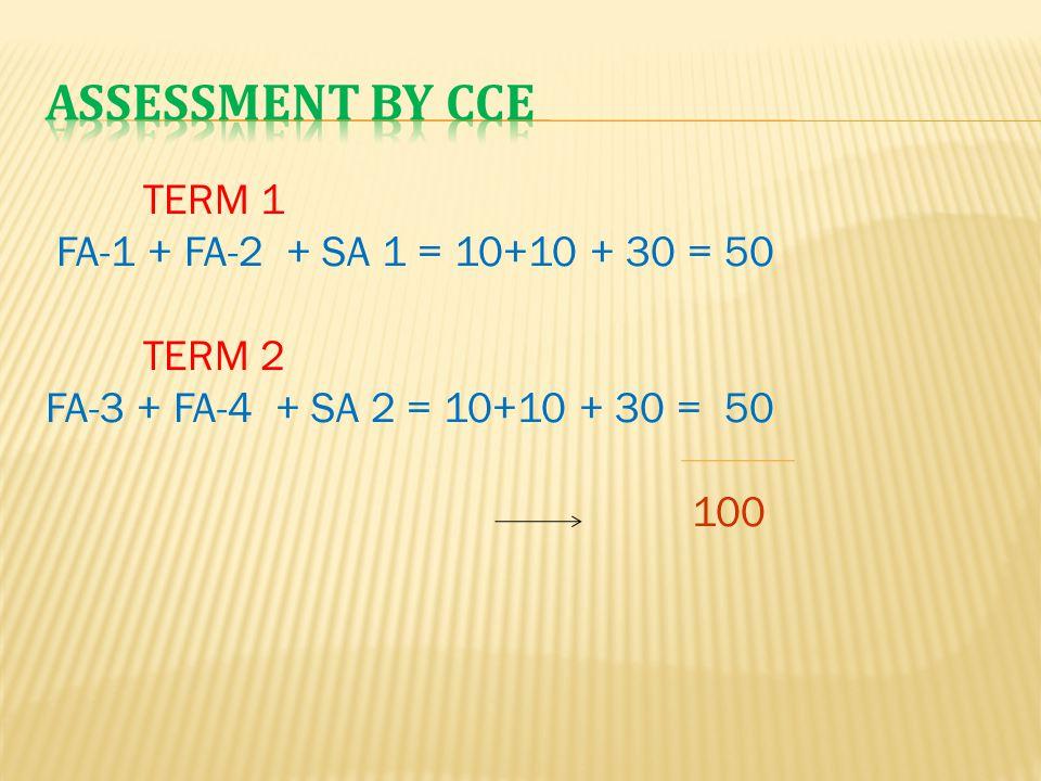 TERM 1 FA-1 + FA-2 + SA 1 = 10+10 + 30 = 50 TERM 2 FA-3 + FA-4 + SA 2 = 10+10 + 30 = 50 100