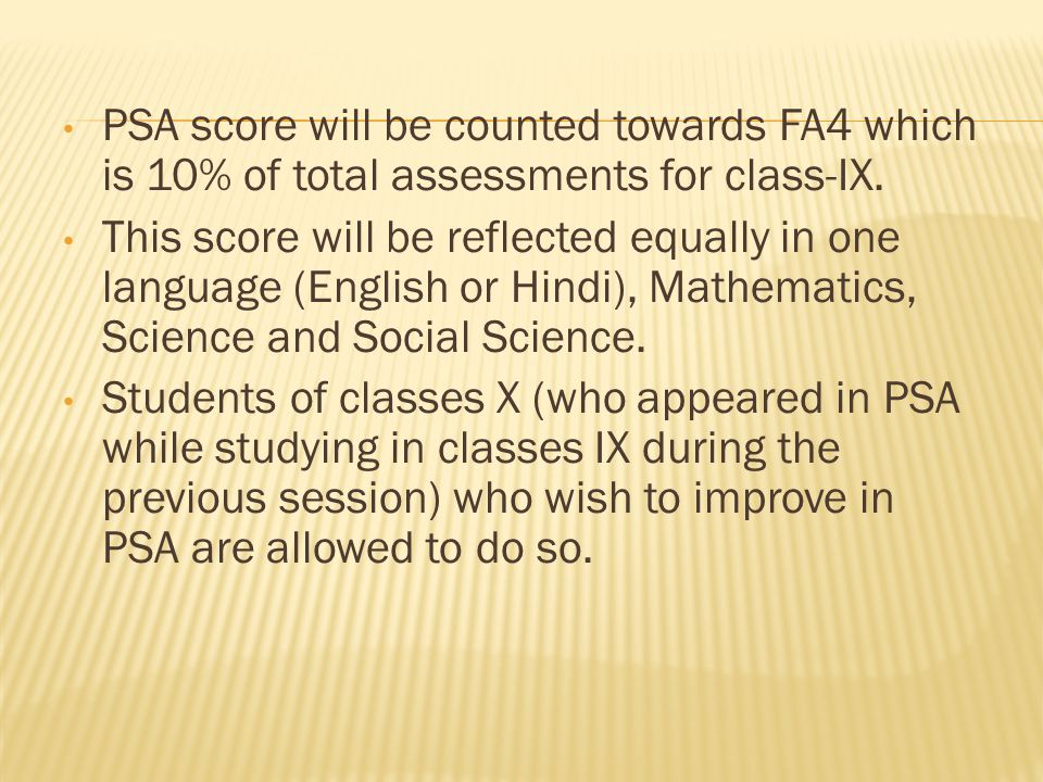 PSA score will be counted towards FA4 which is 10% of total assessments for class-IX.