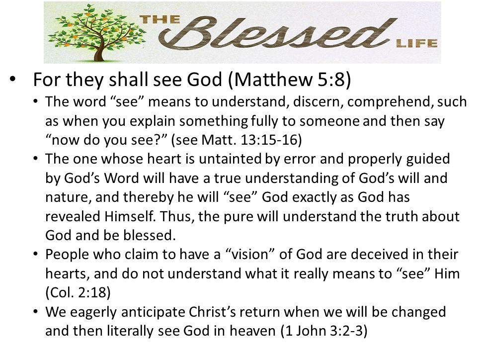For they shall see God (Matthew 5:8) The word see means to understand, discern, comprehend, such as when you explain something fully to someone and then say now do you see (see Matt.