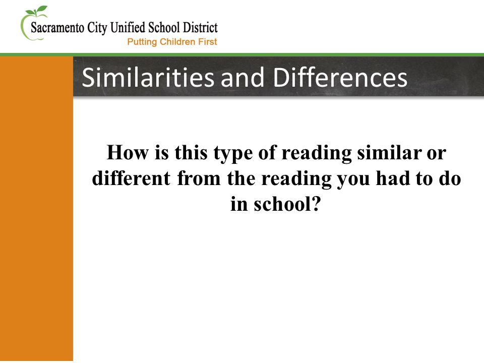Similarities and Differences How is this type of reading similar or different from the reading you had to do in school
