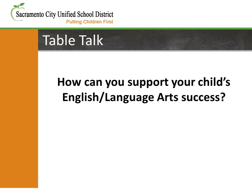 Table Talk How can you support your child's English/Language Arts success?