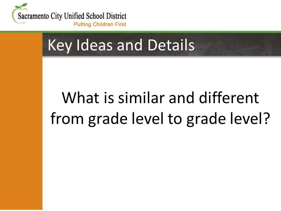 Key Ideas and Details What is similar and different from grade level to grade level
