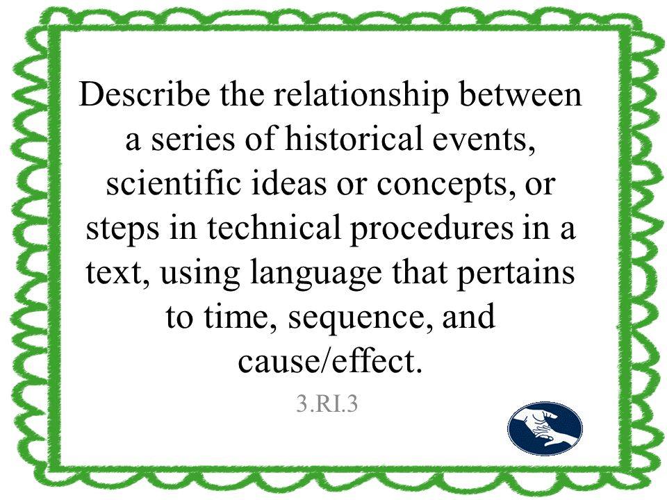 Describe the relationship between a series of historical events, scientific ideas or concepts, or steps in technical procedures in a text, using langu