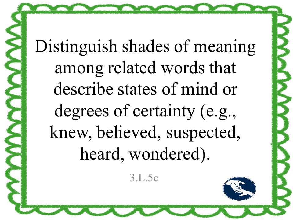 Distinguish shades of meaning among related words that describe states of mind or degrees of certainty (e.g., knew, believed, suspected, heard, wonder