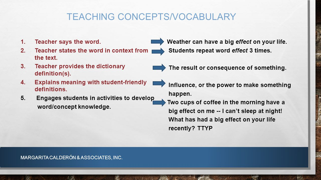TEACHING CONCEPTS/VOCABULARY MARGARITA CALDERÓN & ASSOCIATES, INC. 1.Teacher says the word. 2.Teacher states the word in context from the text. 3.Teac