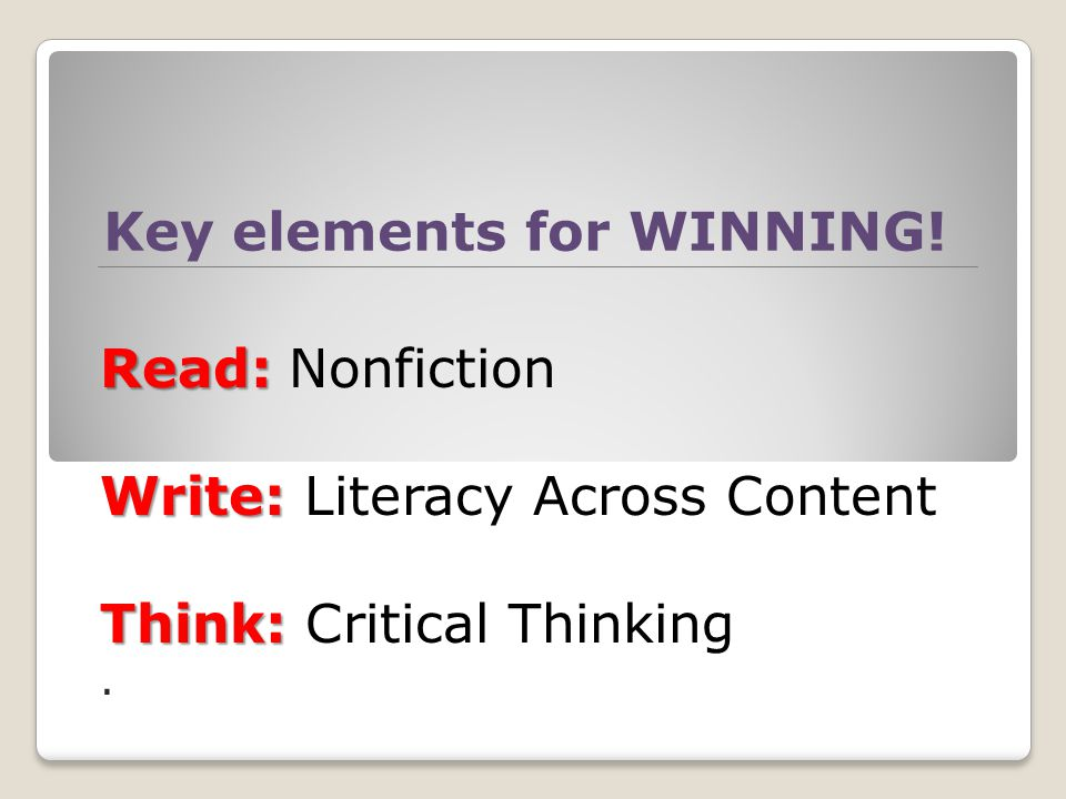 Key elements for WINNING.
