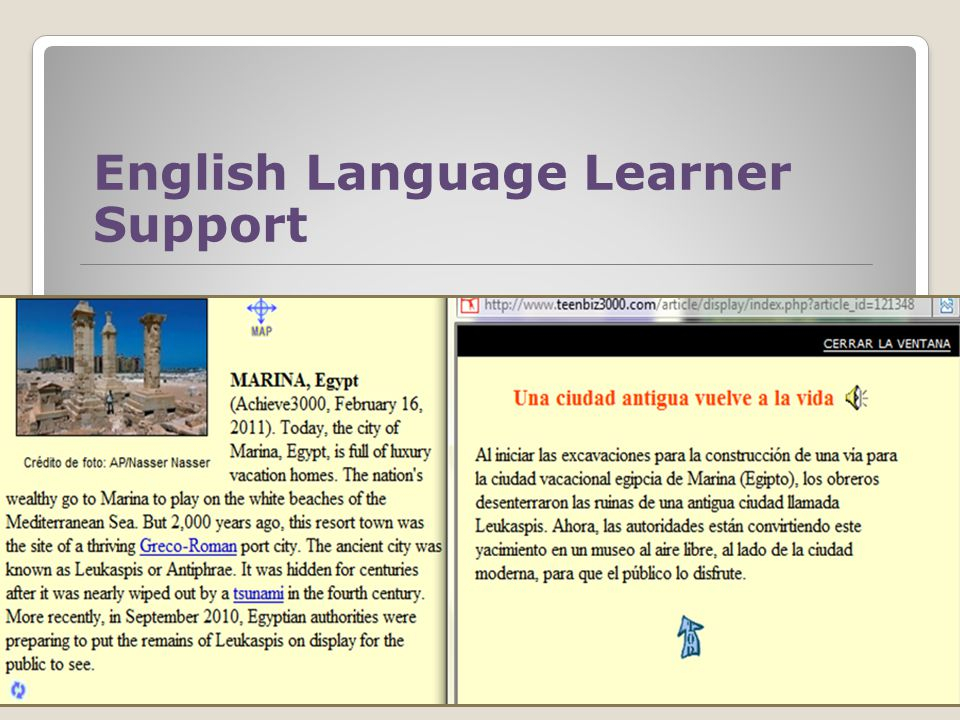 English Language Learner Support