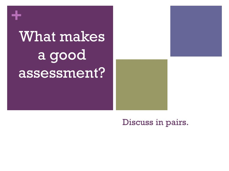 + Discuss in pairs. What makes a good assessment?