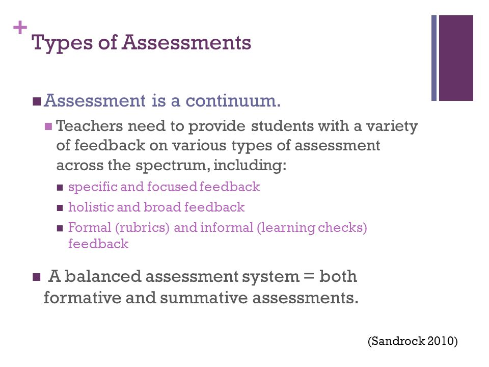 + Types of Assessments Assessment is a continuum.