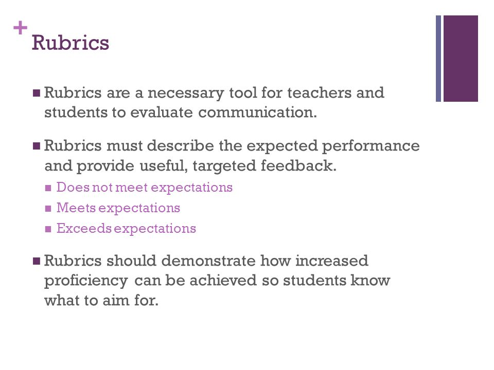 + Rubrics Rubrics are a necessary tool for teachers and students to evaluate communication.