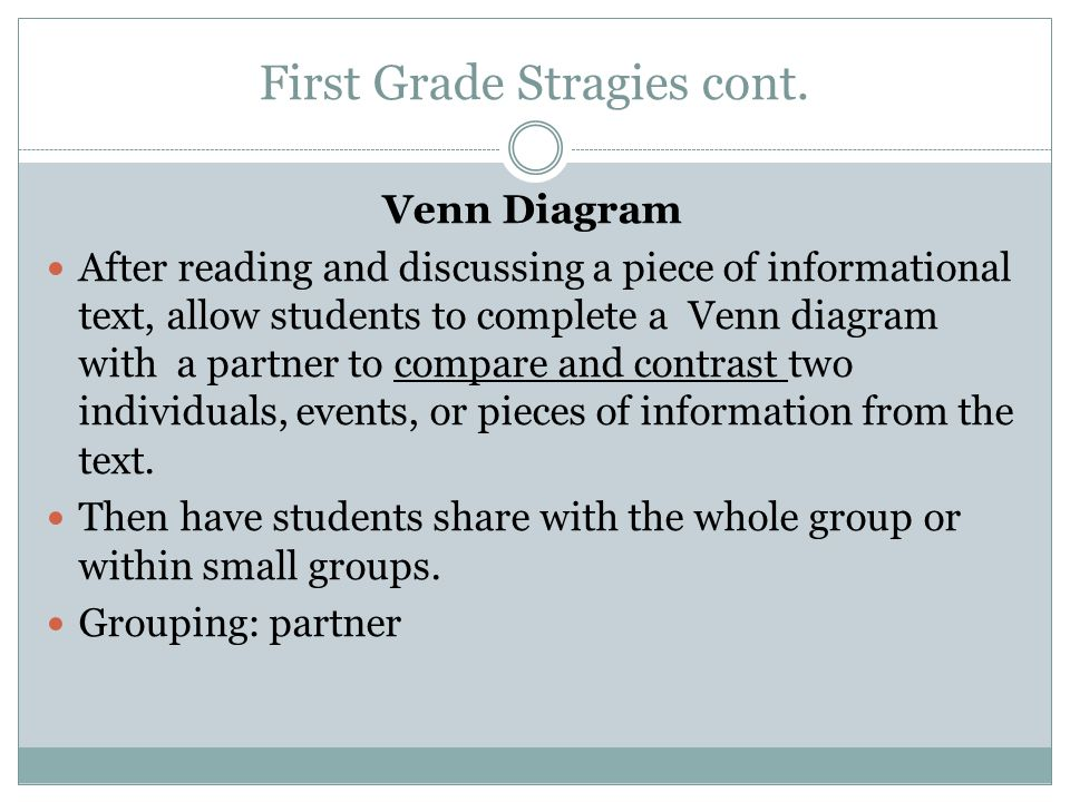 First Grade Stragies cont. Venn Diagram After reading and discussing a piece of informational text, allow students to complete a Venn diagram with a p