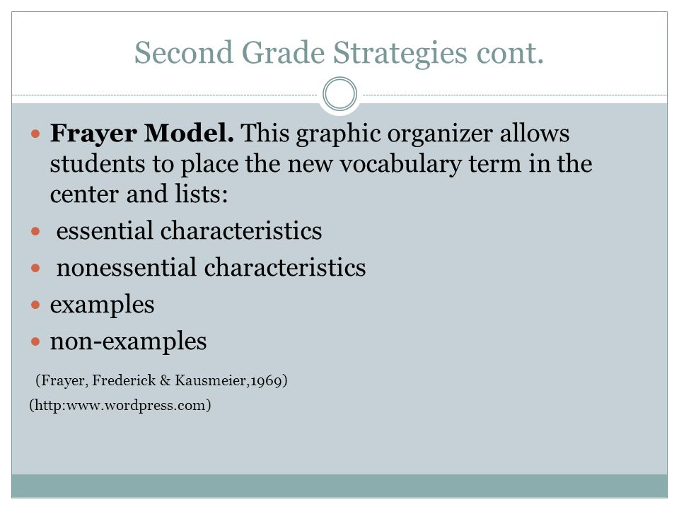 Second Grade Strategies cont. Frayer Model. This graphic organizer allows students to place the new vocabulary term in the center and lists: essential