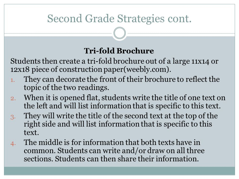 Second Grade Strategies cont. Tri-fold Brochure Students then create a tri-fold brochure out of a large 11x14 or 12x18 piece of construction paper(wee