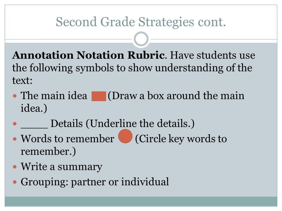 Second Grade Strategies cont. Annotation Notation Rubric. Have students use the following symbols to show understanding of the text: The main idea (Dr