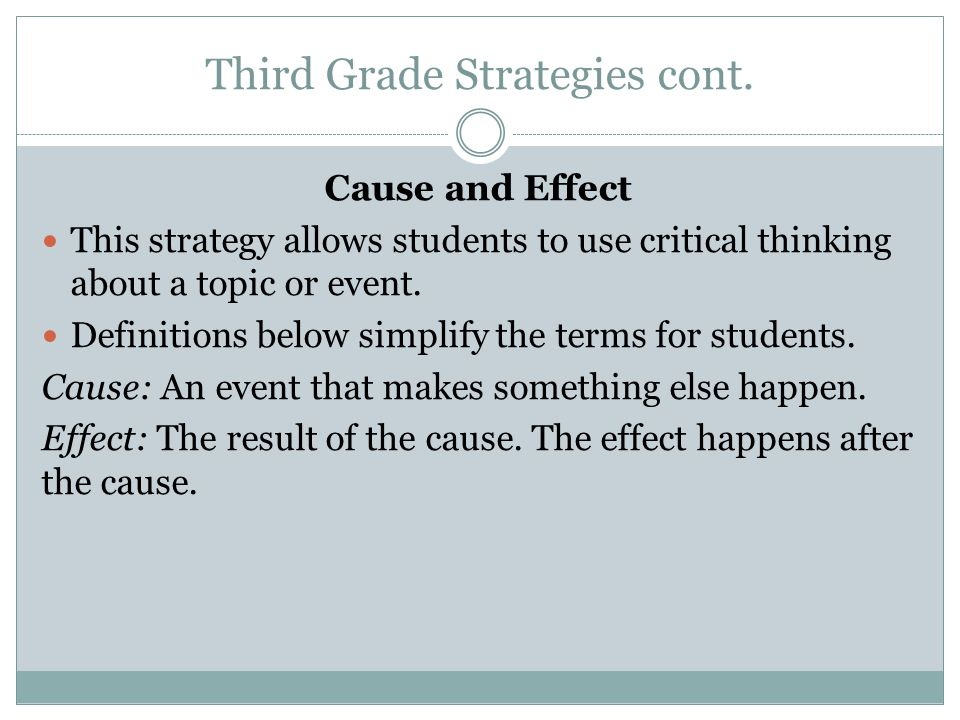 Third Grade Strategies cont. Cause and Effect This strategy allows students to use critical thinking about a topic or event. Definitions below simplif