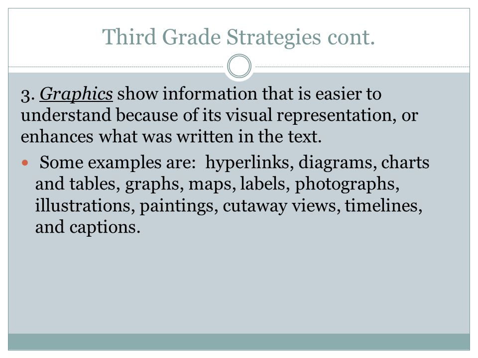 Third Grade Strategies cont. 3. Graphics show information that is easier to understand because of its visual representation, or enhances what was writ