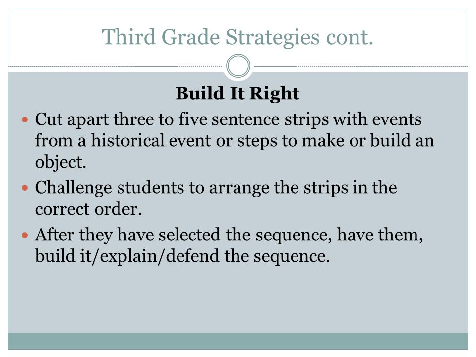 Third Grade Strategies cont. Build It Right Cut apart three to five sentence strips with events from a historical event or steps to make or build an o