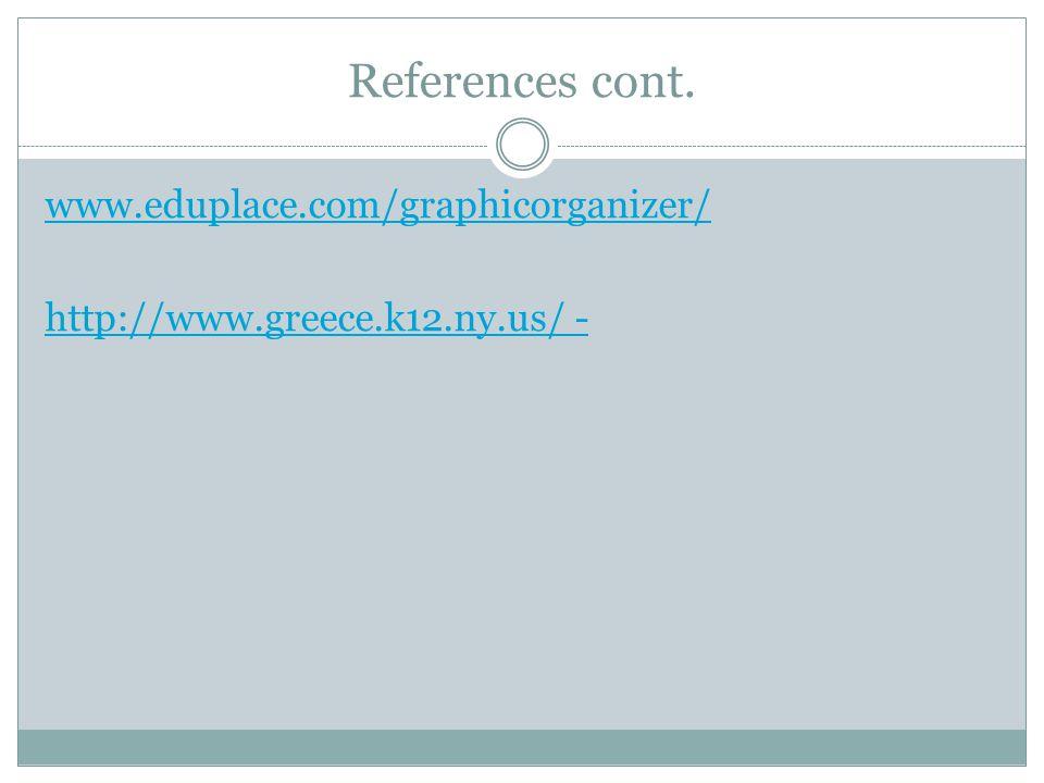 References cont. www.eduplace.com/graphicorganizer/ http://www.greece.k12.ny.us/ -