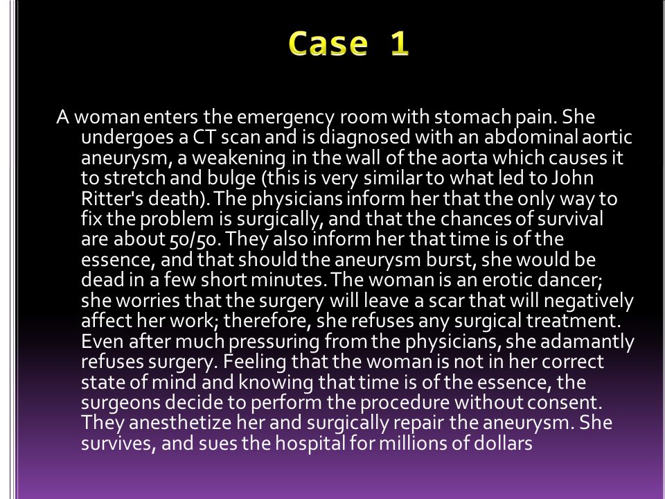 A woman enters the emergency room with stomach pain.