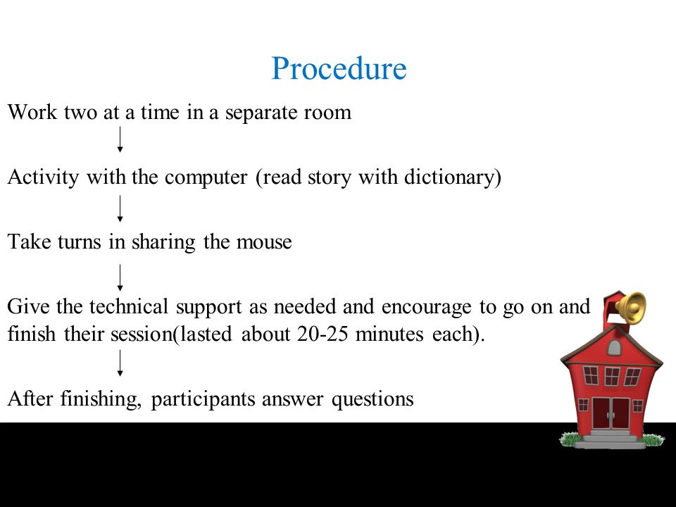 Procedure Work two at a time in a separate room Activity with the computer (read story with dictionary) Take turns in sharing the mouse Give the techn