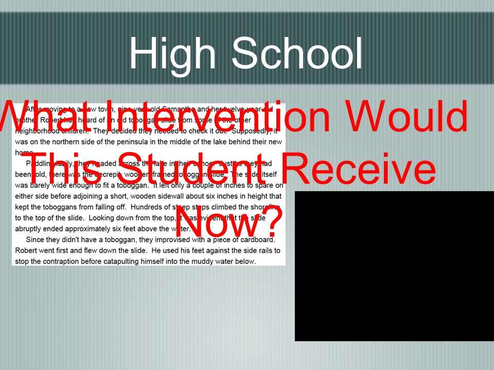High School What Intervention Would This Student Receive Now